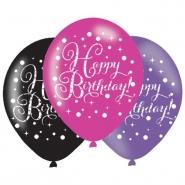 Ballonger 27,5cm 6st Pink celebration Happy birthday 25kr