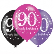 Ballonger 27,5cm 6st Pink celebration 90år 29kr