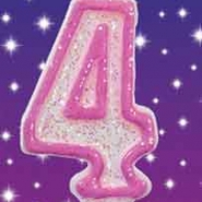 Tårtljus Rosa glitter 4 10kr