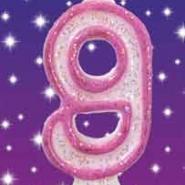 Tårtljus Rosa glitter 9 10kr