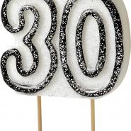 Tårtljus jämna år 30 Svart glitter 15kr