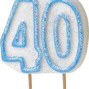 Tårtljus jämna år 40 Blå glitter 15kr