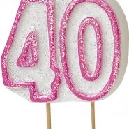 Tårtljus jämna år 40 Rosa glitter 15kr