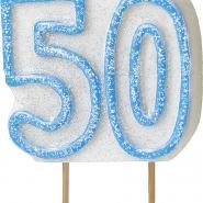 Tårtljus jämna år 50 Blå glitter 15kr