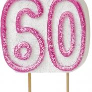 Tårtljus jämna år 60 Rosa glitter 15kr