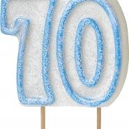 Tårtljus jämna år 70 Blå glitter 15kr