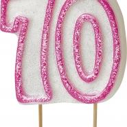 Tårtljus jämna år 70 Rosa glitter 15kr