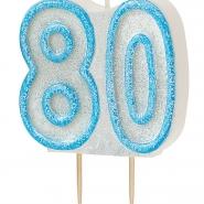 Tårtljus jämna år 80 Blå glitter 15kr