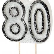 Tårtljus jämna år 80 Svart glitter 15kr
