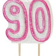 Tårtljus jämna år 90 Rosa glitter 15kr