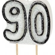 Tårtljus jämna år 90 Svart glitter 15kr
