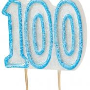 Tårtljus jämna år 100 Blå glitter 15kr