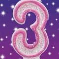 Tårtljus Rosa glitter 3 10kr