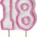 Tårtljus jämna år 18 Rosa glitter 15kr