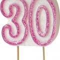 Tårtljus jämna år 30 Rosa glitter 15kr