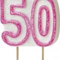 Tårtljus jämna år 50 Rosa glitter 15kr