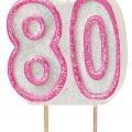 Tårtljus jämna år 80 Rosa glitter 15kr