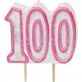 Tårtljus jämna år 100 Rosa glitter 15kr