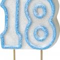 Tårtljus jämna år 18 Blå glitter 15kr