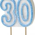 Tårtljus jämna år 30 Blå glitter 15kr