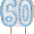 Tårtljus jämna år 60 Blå glitter 15kr
