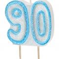 Tårtljus jämna år 90 Blå glitter 15kr