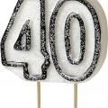 Tårtljus jämna år 40 Svart glitter 15kr