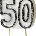 Tårtljus jämna år 50 Svart glitter 15kr