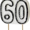 Tårtljus jämna år 60 Svart glitter 15kr