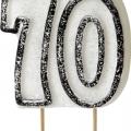 Tårtljus jämna år 70 Svart glitter 15kr