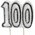 Tårtljus jämna år 100 Svart glitter 15kr