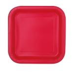Papperstallrikar 17,4cm fyrkant 16p Ruby red 29kr