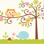 Servetter Happy tree owl 2-lags 16p 36kr
