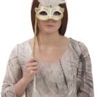 BESTÄLLNINGSVARA Mask Venetian eyemask feather white w stick 169kr