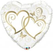 Folieballong 91cm Gold entwined hearts 69kr