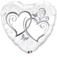 Folieballong 91cm Silver entwined hearts 69kr