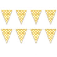 Flag banner av plast dots yellow 3,65m 18kr