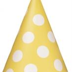 Partyhattar dots gul 8st 20kr