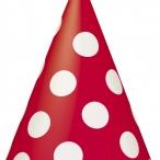 Partyhattar dots röd 8st 20kr
