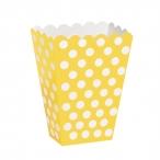 Popcornbox dots gul 8st 22kr