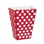 Popcornbox dots röd 8st 22kr