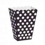 Popcornbox dots svart 8st 22kr
