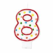 Tårtljus siffra 8 multifärg 12kr