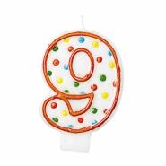 Tårtljus siffra 9 multifärg 12kr