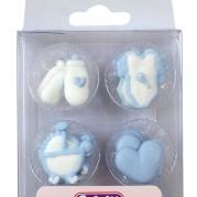 Baby blå sockerdekorationer 12st 35kr