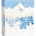 Gift bag babyclothes on line blue 19kr