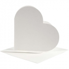 Hjärtkort, kortstl. 12,5x12,5 cm, kuvertstl. 13,5x13,5 cm, off-white, 10set 55kr