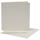 Pärlemorskort, kortstl. 12,5x12,5 cm, kuvertstl. 13x13 cm, cream, 10set 55kr