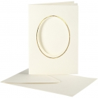 Passepartoutkort med kuvert, kortstl. 10,5x15 cm, hålstl. 6,5x8,8 cm, off-white, oval med guldkant, 10set 55kr