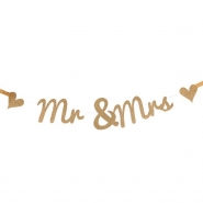 Banner 14x70cm  Mr and Mrs gold glitter 69kr